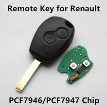 Car Remote Key 433MHz 2 buttons for Renault Clio Scenic Kangoo Megane Chip PCF7946/PCF7947 Keyless Entry Fob Car Alarm