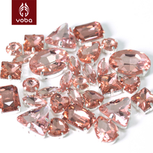 50pcs Mix Shapes Sizes Light Peach Color Sew On Rhinestones With Claw Glass Sewing Beads For Women Wedding Dresses Y3514(China)