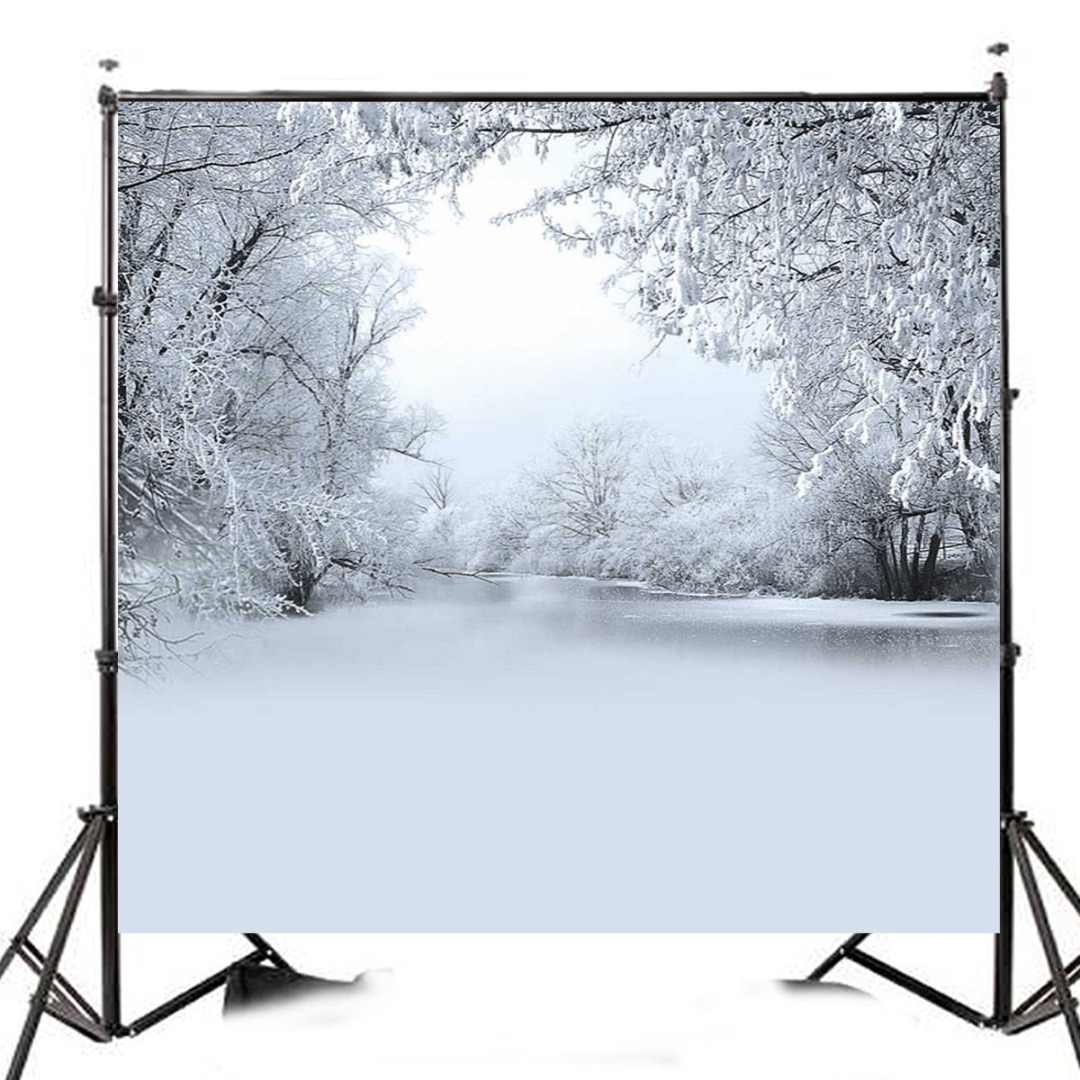 Mayitr 10x10ft Vinyl Christmas Winter Snow Backdrop White Tree Photography Background Suitable For Photo Studio Props<br>