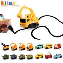 Kitoz Magic Pen Inductive Car Truck Tank Follow Any Drawn Black Line Track Mini Toy Engineering Vehicles Educational Toy for kid(China)