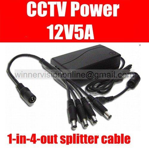 DC 12V 5A 60W Power Supply Adaptor for CCTV Camera 12v 5000mA for Security Video Surveillance Camera 4 port Splitters<br><br>Aliexpress