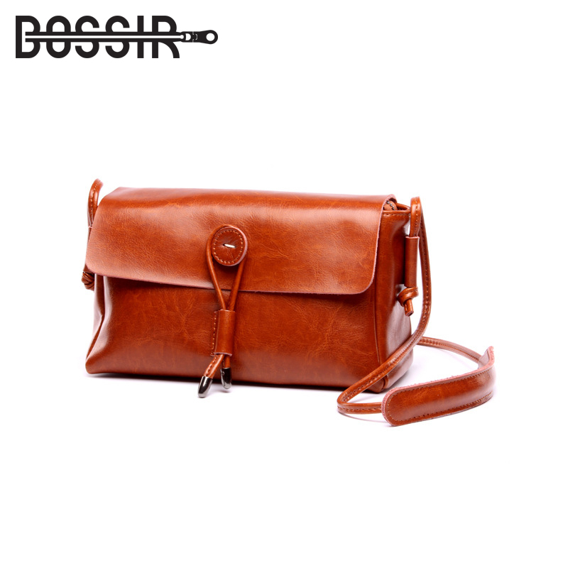 New Arrival Women Leather Bag Fashion Cow Split leather Button Decoration Women Messenger Bags Casual Crossbody Shoulder Bags<br>