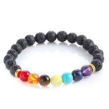 Buy Mens Bracelets Black Lava 7 Chakra Healing Balance Beads Bracelet Men Women Rhinestone Reiki Prayer Stones free for $1.20 in AliExpress store
