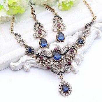 Turkish Women Earrings Necklace Jewelry Set Resin Rhinestone Drop Princess Hook Earring Flower Wedding Necklace Retro Gold Plate