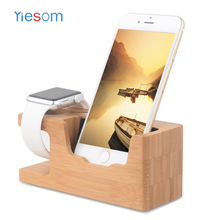 YIESOM For i Watch Mobile Phone Charger Dock with Watch Bamboo Holder Desk Wood Charging Stand for Apple Watch Dock Cradle(China)