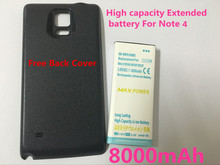 New High Capacity 8000mAh Extended Replacement Battery+Back Case Cover For Samsung Galaxy Note 4 N9100 Cell Phone Battery Case
