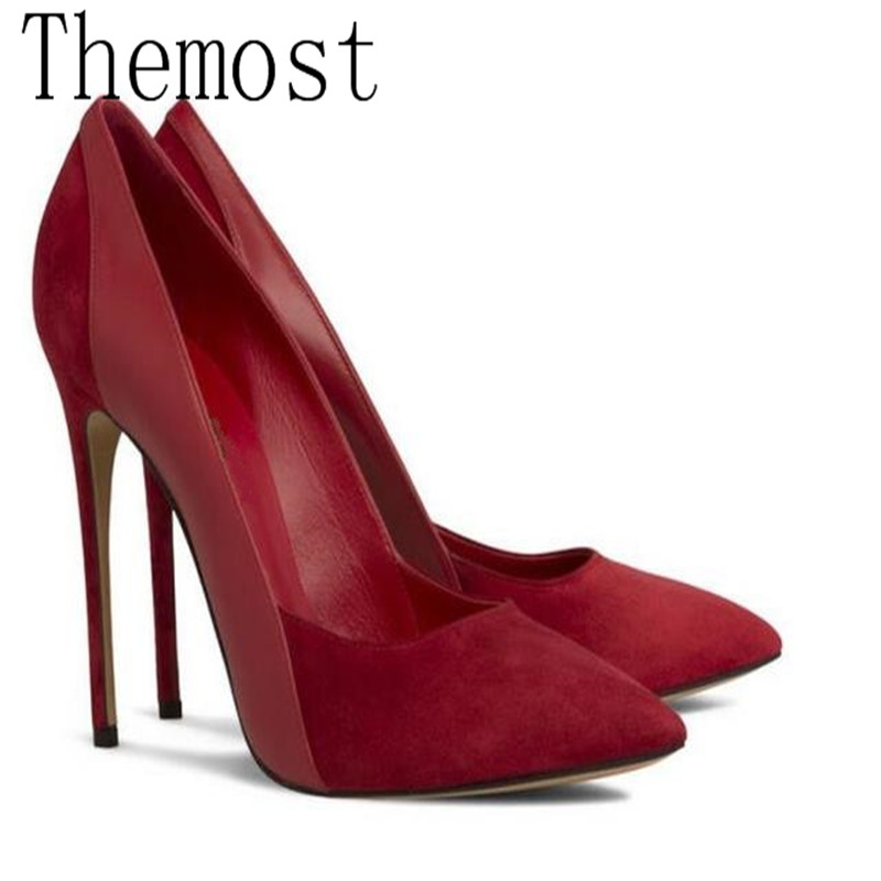 THEMOST European and American early spring latest high heel 12 cm sexy lady pointed single shoes suede stitching large size34-48<br>