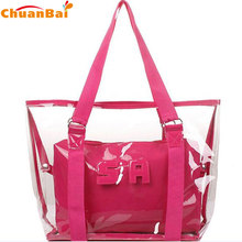 Hot 2017 fashion new mother and child transparent bag crystal jelly beach women shoulder bags hand female bag(China)