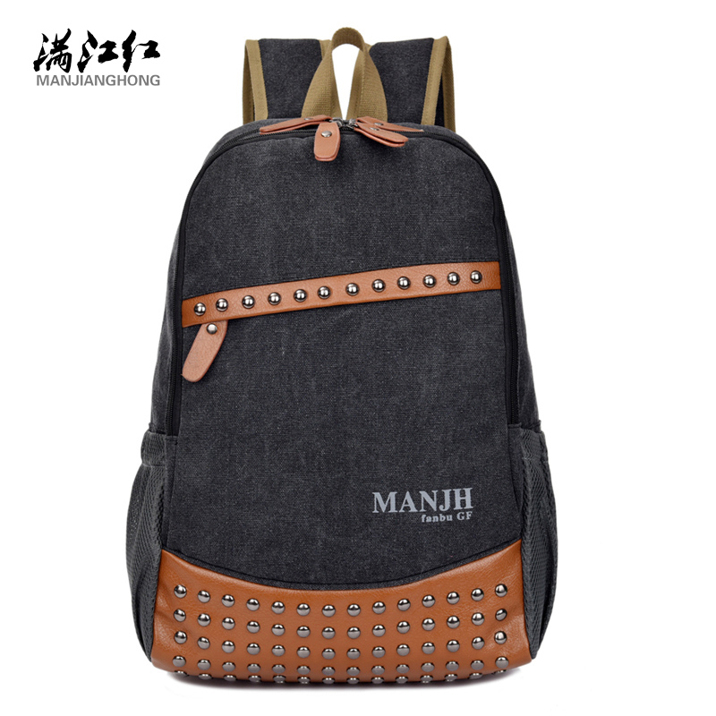 High School Students Backpack Bag Preppy Style Revits Washed Cotton Canvas Bag Schoolbag Laptop Backpack 1300<br><br>Aliexpress