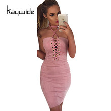 Buy Kaywide Club Wear Lace Suede Bandage Dress Summer Halter Shealth Bodycon Women Sexy Party Dresses Backless Elegant Vestidos for $8.33 in AliExpress store