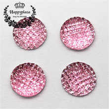 20pcs 16mm Pink Resin Bling Rhinstone Grid Surface Round Flatback Cabochon DIY Scrapbooking Phone/Wedding Decoration Craft