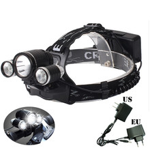 New Arrival Professional Headlamp Headlight 4800LM CreeFire XML-T6+2 R2 LED Head lamp 4 Mode Bicycle Light with Charger