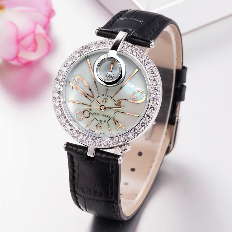 Royal Crown Luxury Lady Womens Watch Fashion Crystal Hours Dress Leather Clock Bracelet Rhinestone Girl Birthday Gift Box<br>
