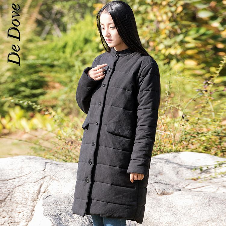 De Dove 2015 winter hot sale women stand collar Long Sleeve solid thick jacket coat cotton linen single breasted ladies ParkasОдежда и ак�е��уары<br><br><br>Aliexpress