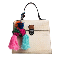 Beach bag straw totes bag women handbags with Colorful tassels Hairball braided shoulder bag new arrived Knitting Rattan Bag