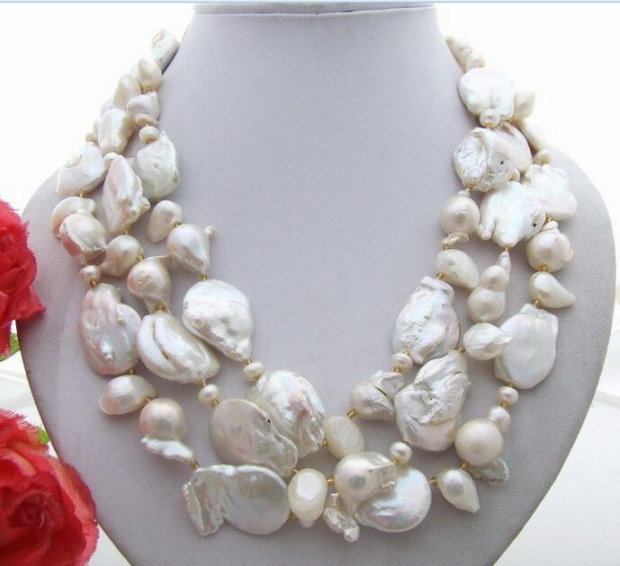 FREE SHIPPING>>>  3Strds 20MM Keshi White Pearl Necklace