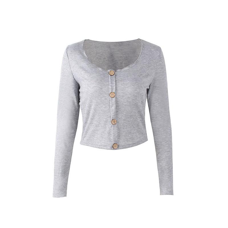 Crop Top Women Long Sleeve Button O-neck Spring Summer T Shirt Women Sexy Camiseta Mujer Women Tshirt Tee Shirt Femme 2019 Tops228