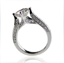 Fire Dance Sexy 2Ct Round Cut Diamond Halo Ring Genuine White Gold 585 Semi Mount Wedding Solid 14K Engagement Ring