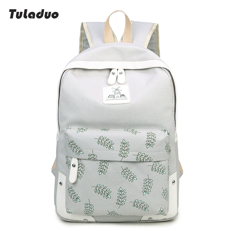 New Fashion Rivet Leaves Design Women Canvas Backpack ladies Preppy Style Middle High School For GirlTeenagers Laptop Book bag(China (Mainland))