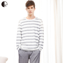 Cotton Long Sleeve O-neck Pajama For Men Spring Autumn Men Pajamas Set Women Sleepshirts Couple Striped Sleepwear Homewear(China)