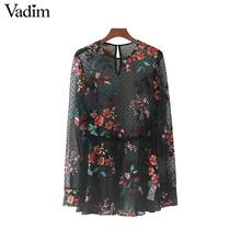 Vadim women sweet floral embroidery mesh shirts see through transparent long sleeve blouse casual black tops blusas LT2155(China)