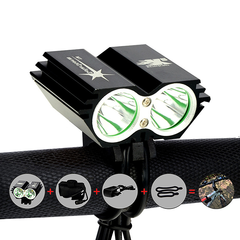 SolarStorm 2X XM-L U2 LED 5000Lm LED Front Head Bicycle Bike Light Headlamp with 6400mAh Battery + Charger Free Shipping<br><br>Aliexpress