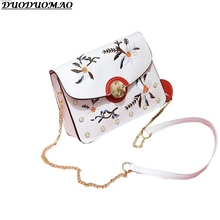 2017 Women Hangbags 2 Colors New Fashion PU Leather women Black PU Floral flap shoulder bag shoulder bag women evening sac femme(China)