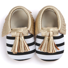 Infant Shoes Striped Slip On Metal Color Tassel Baby Crib Tassels Bowknot Toddler Casual Shoes Sapatilha Infantil(China)