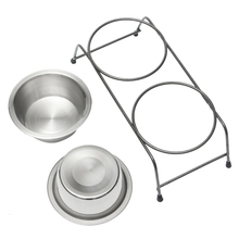 Hot Stainless Steel Double Pet Dog Cat Feeding Bowl Food Water Dish Diner Metal Stand Silver L