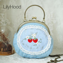 LilyHood 2017 Handmade Girly Cute Blue Lolita Small Shoulder Bag Female Girl Cossplay Inspired Dirndl Candy Color Round Handbag