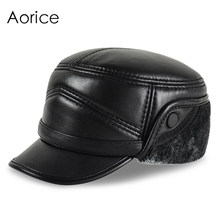 HL162-F Genuine leather baseball cap hats men's brand new sheepskin leather army hats caps black with Faux fur inside(China)