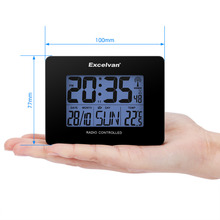 Excelvan Thermometer with Temperature LCD Digital Precision Radio Controlled Alarm Clock Multi Thermometer Time Calendar Day