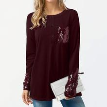 Buy Ladies tops tee Sequins fashion long sleeves round neck casual top tee sequined mujer pull 2018 NEW Autumn Clothing WS5652Y for $11.69 in AliExpress store