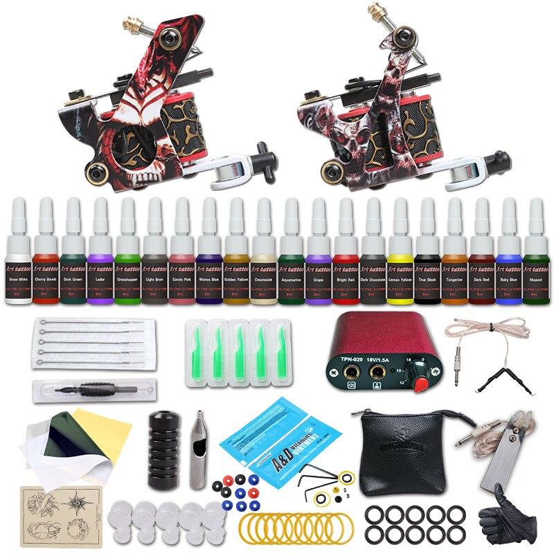 Complete Beginer Tattoo Kit 2 Machine Guns 20 Color Inks Power Supply Set D175-1<br>