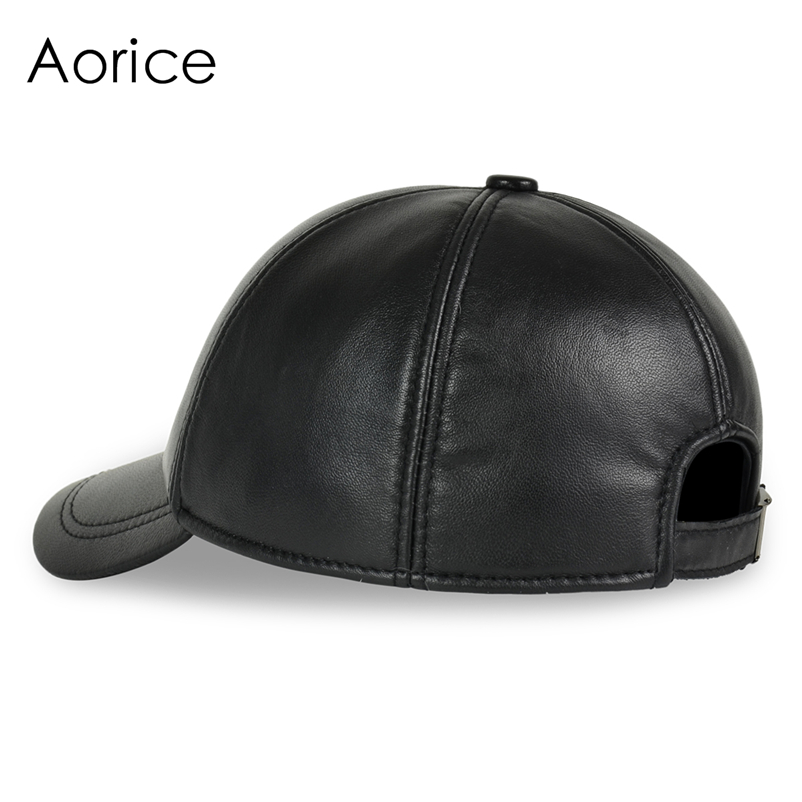 Deluxe Leather Adjustable Black Baseball Cap - Side View