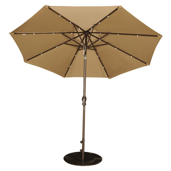 Abba Patio 9' Patio Umbrella with Solar Powered 24 LED Lights Market Outdoor Umbrella with Tilt and Crank Brown