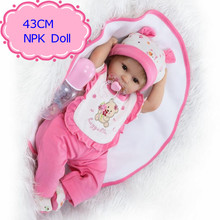 43cm ,18inch Realistic New Born Baby Doll With Pink Newborn Baby Doll Clothes The Living Baby Doll For New Mother To Practice