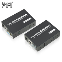 Aikexin 200m VGA KVM VGA Extender with USB Over single-wire CAT5e/6 supports 1 VGA transmitter to N VGA Keyboard Mouse support