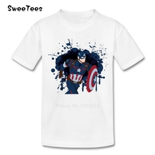 Captain America Boys Girls T Shirt Cotton Short Sleeve Round Neck Tshirt children's Clothes 2017 New Popular T-shirt For Infants