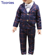 2017 Fashion Boys Suits Wedding Children Clothes Long Sleeved Plaid Blazers Kids Blazer + Pants 2pcs Boy's Formal Party Clothing(China)