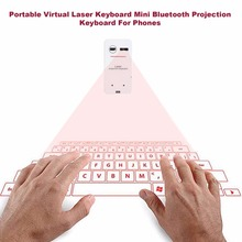 Portable Bluetooth Wireless Virtual Laser Keyboard Mini Bluetooth Projection Keyboard for Windows For Mobile Phones white