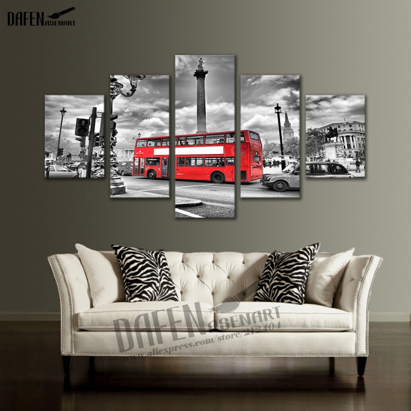 Canvas Painting 5 Piece London City Bus Picture printed Modern Home Decor Wall Art Picture Printing For Living Room(Hong Kong)