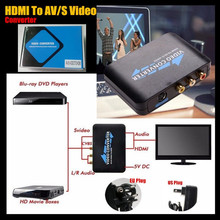 1080P HDMI To AV/S Video Adapter S-Video,CVBS Video Converter For DVD to HDTV Connection AV2HDMI Adapter,US&EU Plug,+Retail Box(China)