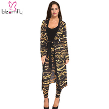 Autumn Women 2 pieces Set Ladies Tops + long Pants Suits Fashion Silk Cardigan Female Chain print Bandage Loose Clothing 2017(China)