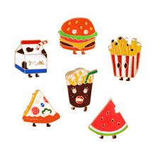 Cartoon French fries Chips Hamburger Pizza Cola Milk Watermelon Cute Alloy Brooch Pins Button Pins Kids Gift
