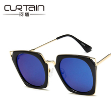 CURTAIN 2017 new men and women fashion sunglasses large frame of dazzle cat eye sun glasses The big frame with the sunglasses(China)