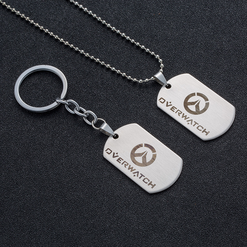 Game Overwatch LOGO choker stainless steel Pendant necklace&keychain Dog Tags Men & Women Necklaces Alloy chain