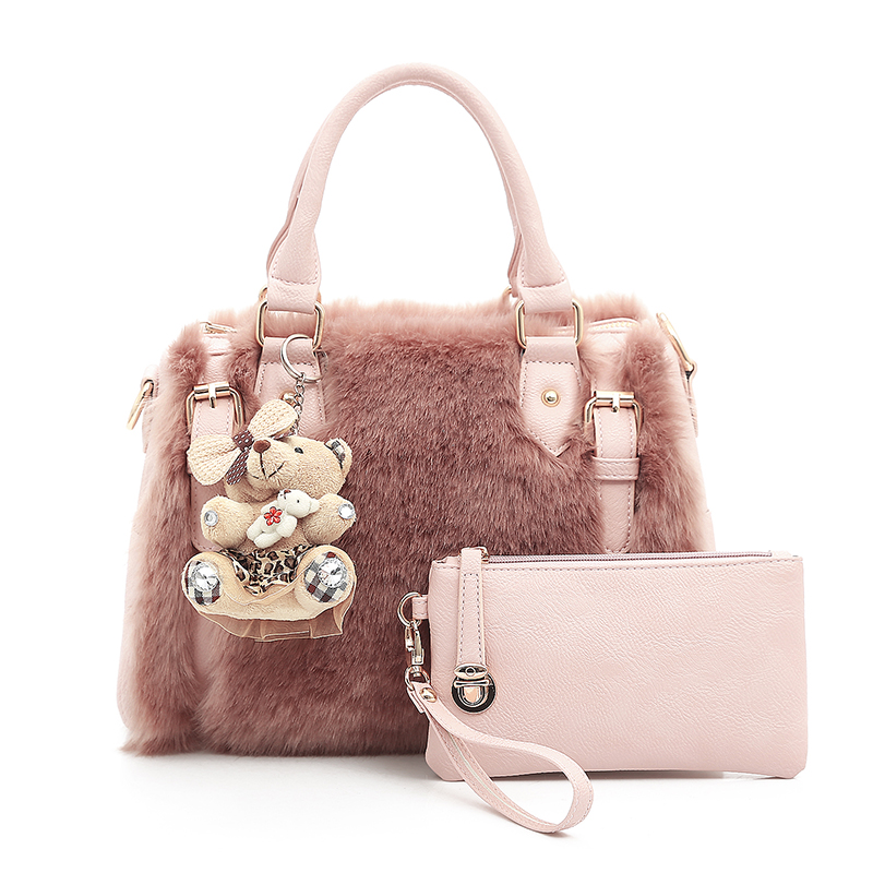 2017 Women Shoulder Bags Solid Top Fashion Ladies Crossbody Bag Faux Fur Plush Cony Hair Clutch Hairy Balls Casual Female Bag<br>