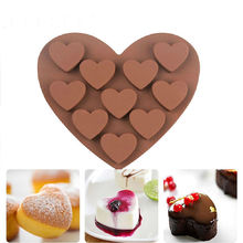 1pc Silicone Chocolate Cake Ice Mould Heart Shape 10 Holes Soap Candy Chocolate Molds Cooking Tools Cake Mold Party Wedding