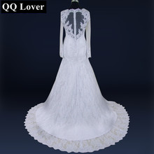 Buy QQ Lover 2018 Latest Long Sleeves Vestido De Noiva Pearls Beaded Mermaid Lace See Back Bridal Gown Wedding Dress for $88.20 in AliExpress store